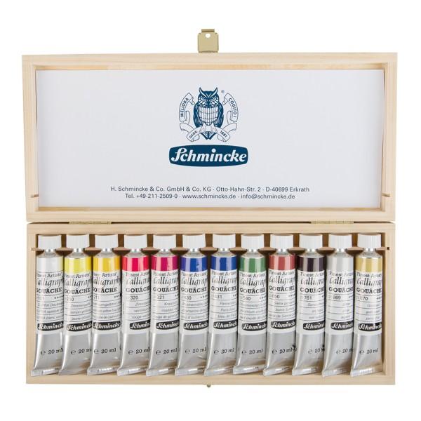 Schmincke Gouachefarbe   Calligraphy GOUACHE   Holzkasten   12 x 20 ml Tuben