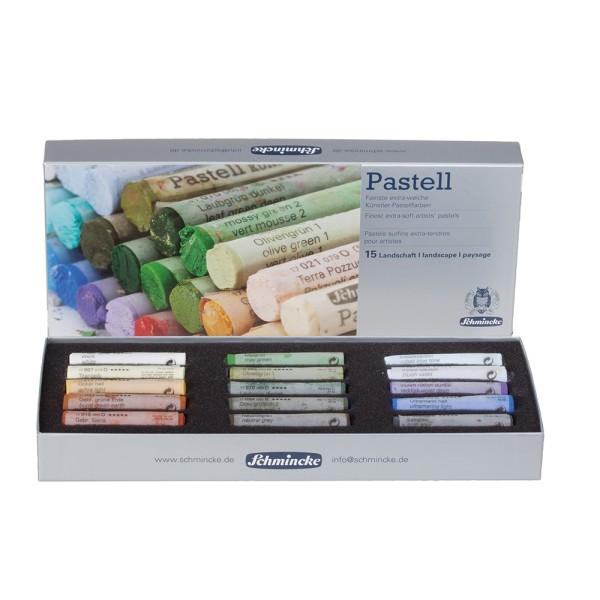 Schmincke Pastellfarbe   Pastell   Kartonset   Landschaft mit 15 Stiften
